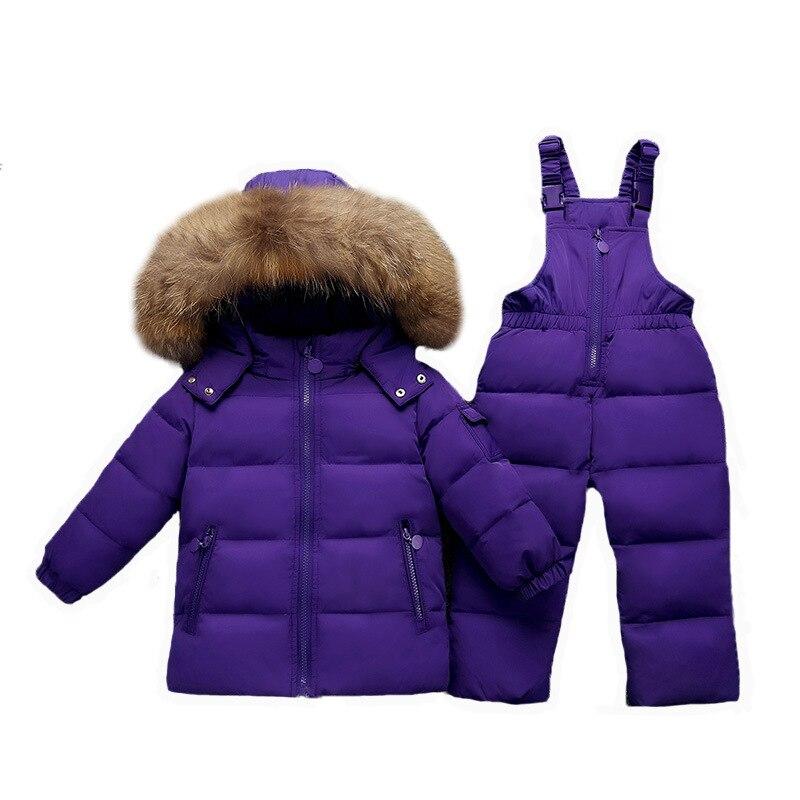 Enfant en bas âge combinaison Russie Hiver doudoune pour bébé fille vêtements Enfants Vêtements ensembles garçons parka réel manteau de fourrure enfants neige usure