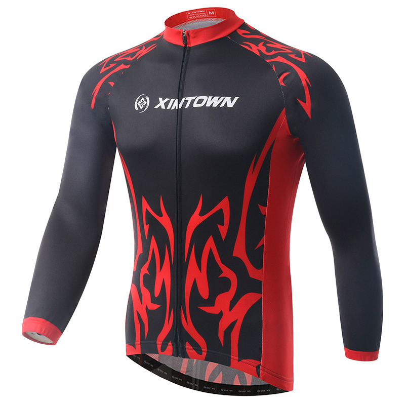 XINTOWN Cycling Jacket Jersey Pro Team Black Red Long Full Sleeves Windproof Bike Bicycle Jersey Ciclismo Riding Shirt Bicicleta