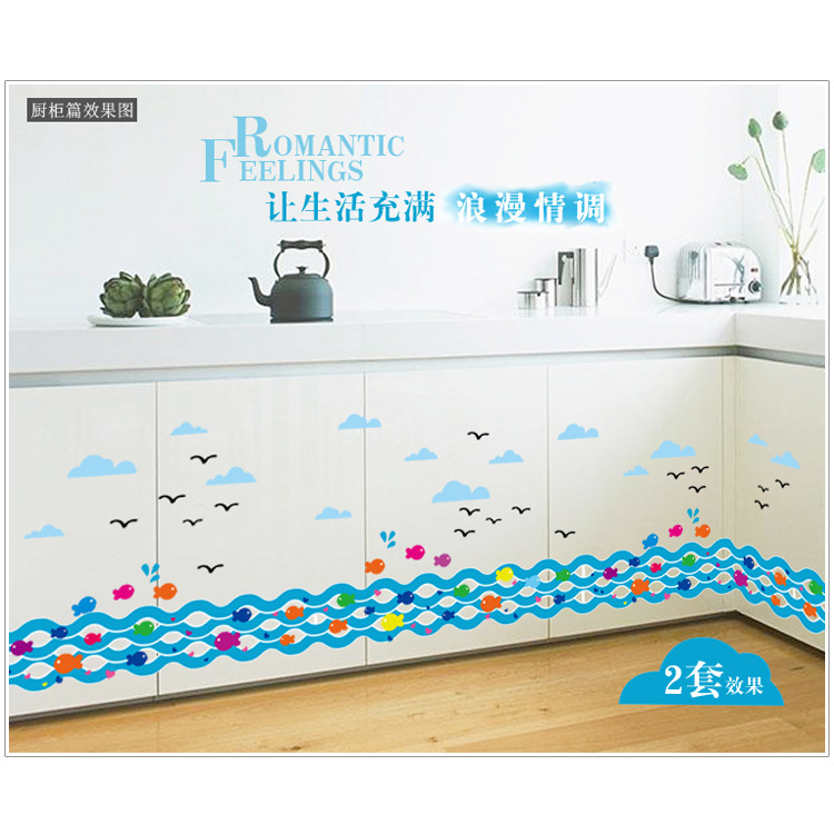 fai da te onda pesce autoadesivo della parete del fumetto per doccia in pvc adesivi per