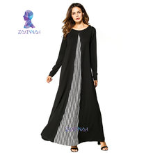 Casual Abaya stripe dress Muslim islamic clothing Middle east maxi dresses gowns for women Dress Female
