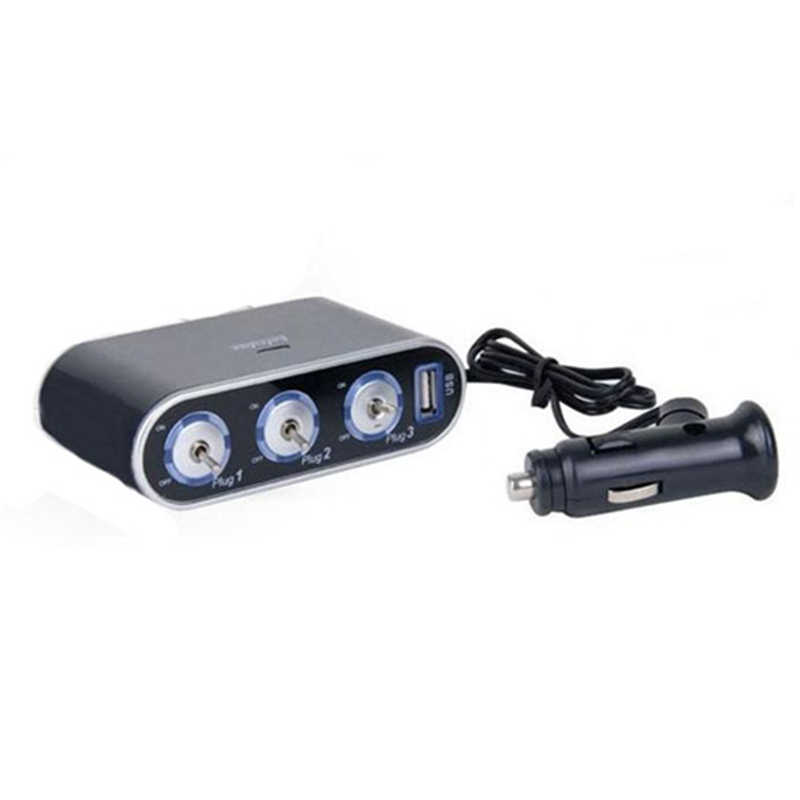 High Quality 3 Way Auto Car Cigarette Lighter Socket Splitter Charger Power Adapter 12V / 24V LED Light Switch