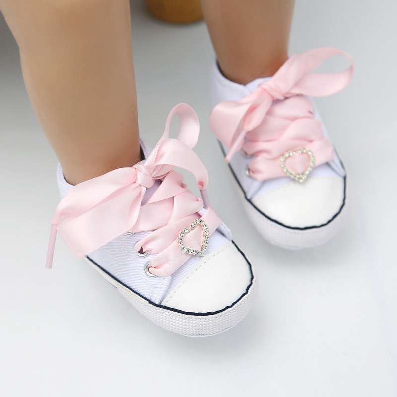Fashion Baby Girls Toddler Soft Soled First Walkers Breathable Satin Lace-Up Anti-Slip Shoes Sneakers