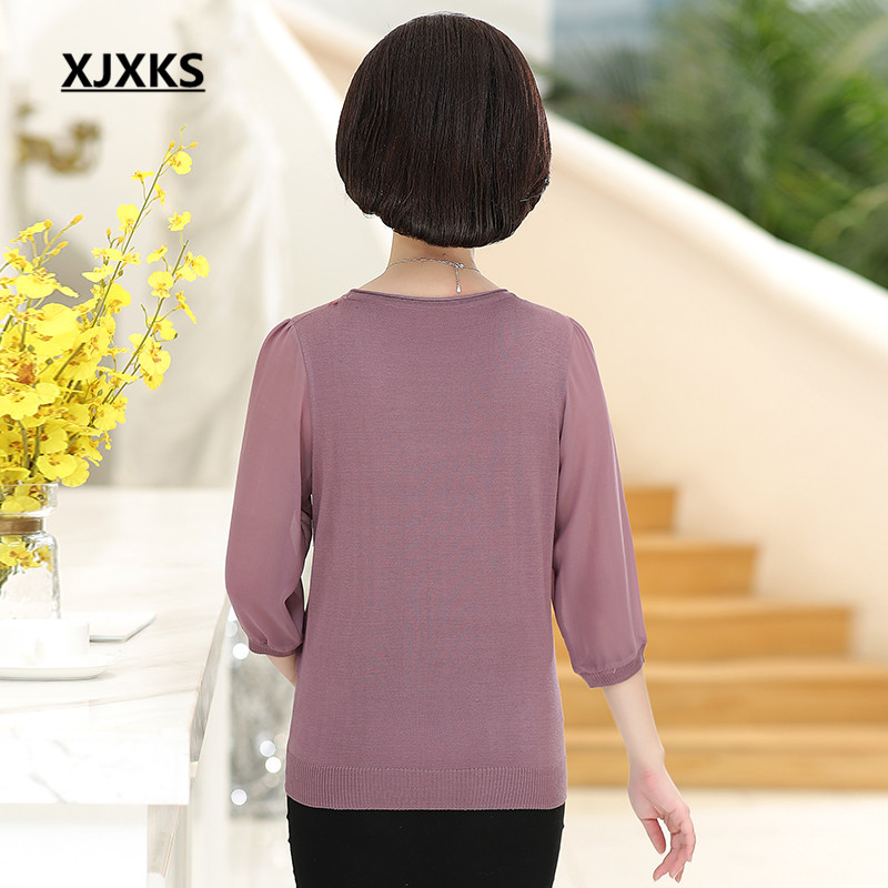 XJXKS 2019 spring new women top loose plus size fashion embroidery high quality women blouse bottoming shirt