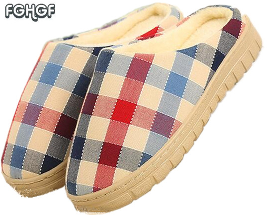 Men's gingharm soft house slippers Women warm home slippers female cute Men indoor slippers Pantufa zapatillas casa mujer hombre soft house slippers women men home shoes cute bedroom foot warmer japanese indoor slippers fur pantufa zapatillas casa chaussons