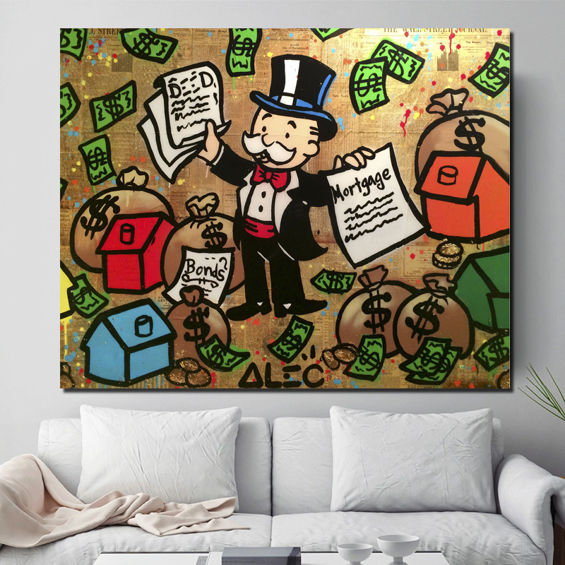 Alec Monopoly High Resolution Wall Art Canvas Painting Posters Prints Modern Pictures For Living Room Home Decor