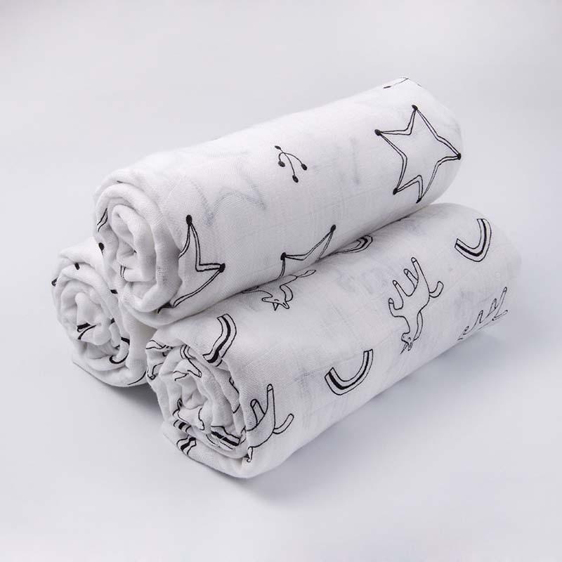Newborn Blanket  Bath Towel Baby Swaddle Blanket Summer Gauze Cartoon Printing Breathable Crib Toddler Quilt BMT009