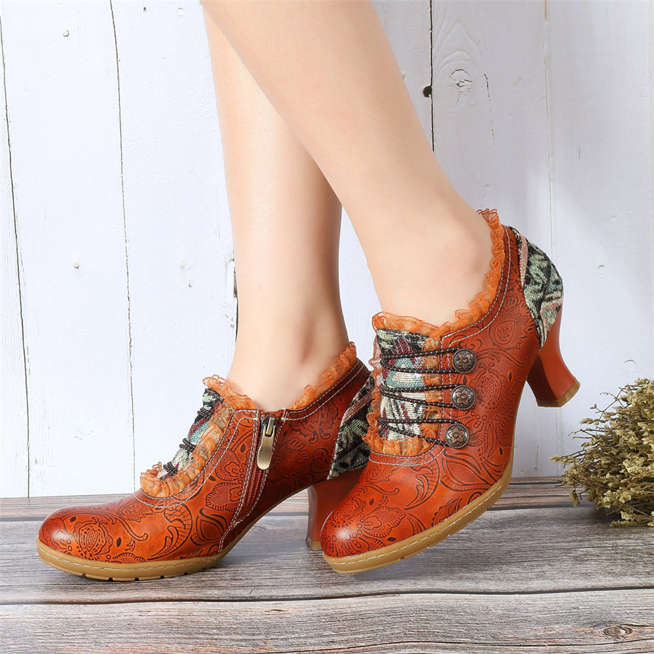 Wine Glasses Women Pumps European Vintage Hand Genuine Leather Shoes Embossed Stitching Spanish Style Four Seasons Women's Shoes (1)