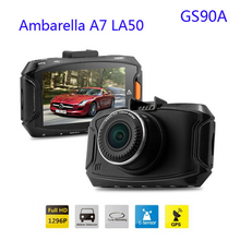 Discount! Original GS90A Car DVR Ambarella A7LA50 2304*1296P 30fps 2.7Inch LCD 170 Wide Angles G-Sensor Dash Camera car dvrs