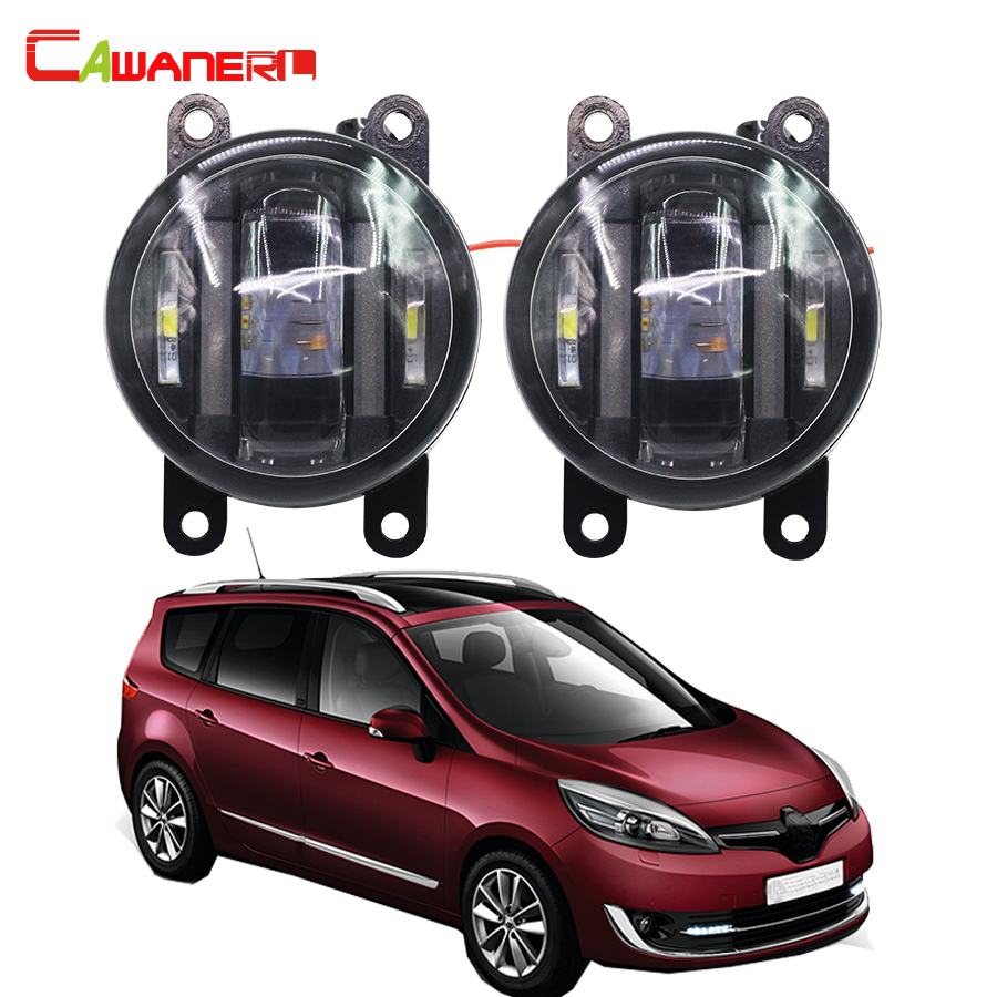 Cawanerl 2 X Car Fog Light LED DRL Daytime Running Lamp High Lumens For Renault Grand Scenic 2/II JM0 JM1 MPV 2004-2015 cawanerl car styling led lamp fog light daytime running light drl 12v dc 2 pieces for renault scenic 2 ii jm0 jm1 mpv 2003 2009