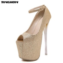 TINGHON  Sexy Buckle Pumps Wedding Women Bling Shoes Concise Woman Very High Heel 19 CM Stripper Club