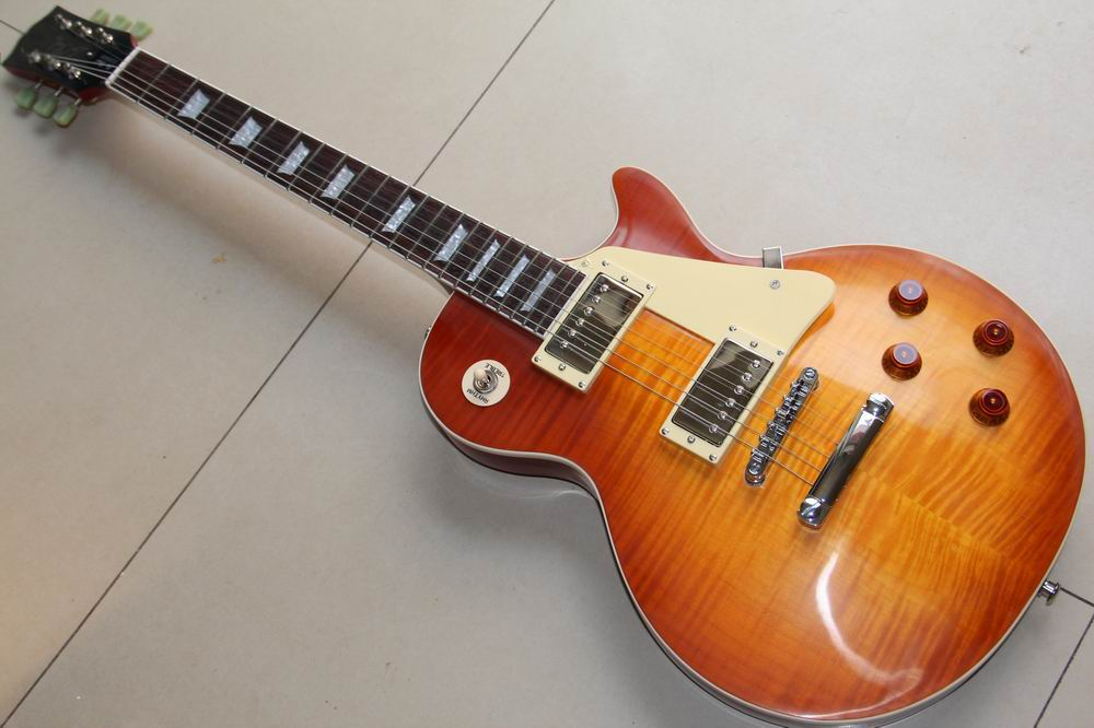 Wholesale Ciobson Custom shop 1959 R9 Tiger Flame electric guitar one piece neck Standard LP 59 electric guitar HOT!120930 musical instruments wholesale gbson standard les sunburst for paul lp electric guitar chinese tiger stripes free shipping