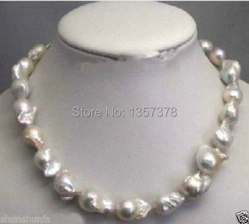 free shipping Large 15 23mm White Unusual Baroque Pearl Necklace disc Clasp