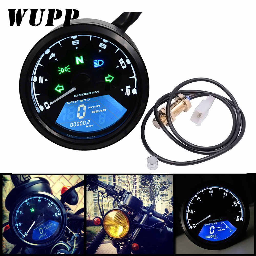 WUPP Motorcycle Meter LED digita Indicator light Tachometer Odometer Speedometer Oil Meter Multifunction With night vision dial