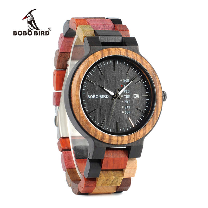 533628d87 ... BOBO BIRD Week Display   Auto Date Face Wood Watch Men Quartz  Wristwatch Accept Logo Customize ...