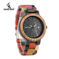 BOBO BIRD Week Display Auto Date Face Wood Watch Men Quartz Wristwatch Accept Logo Customize Relogio