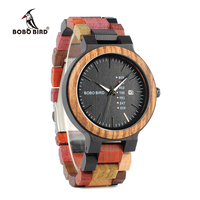 BOBO BIRD Week Display Auto Date Face Wood Watch Men Quartz Wristwatch Accept Logo Customize Relogio