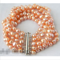 5Strands 6MM Pink Baroque Freshwater Pearl Bracelets Noble Style Natural Fine Jewe Fast D SHIPPING