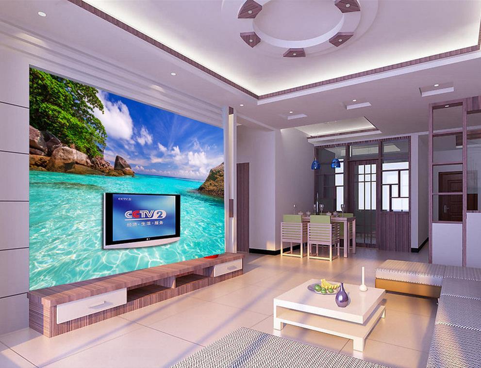 3d room wallpaper landscape Sea, sky and clouds Living room TV backdrop bedroom 3d photo wallpaper 3d wallpaper mural