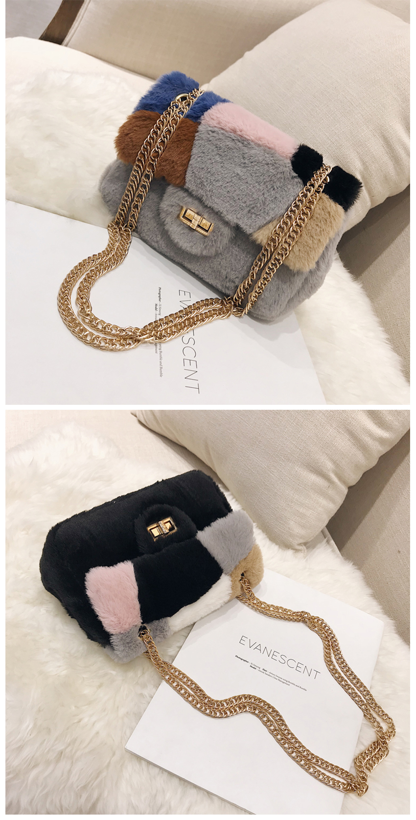 332c1fdb1f13 Patchwork Fabric Flannel Bag Like Pig Chains Shoulder Bags Female ...