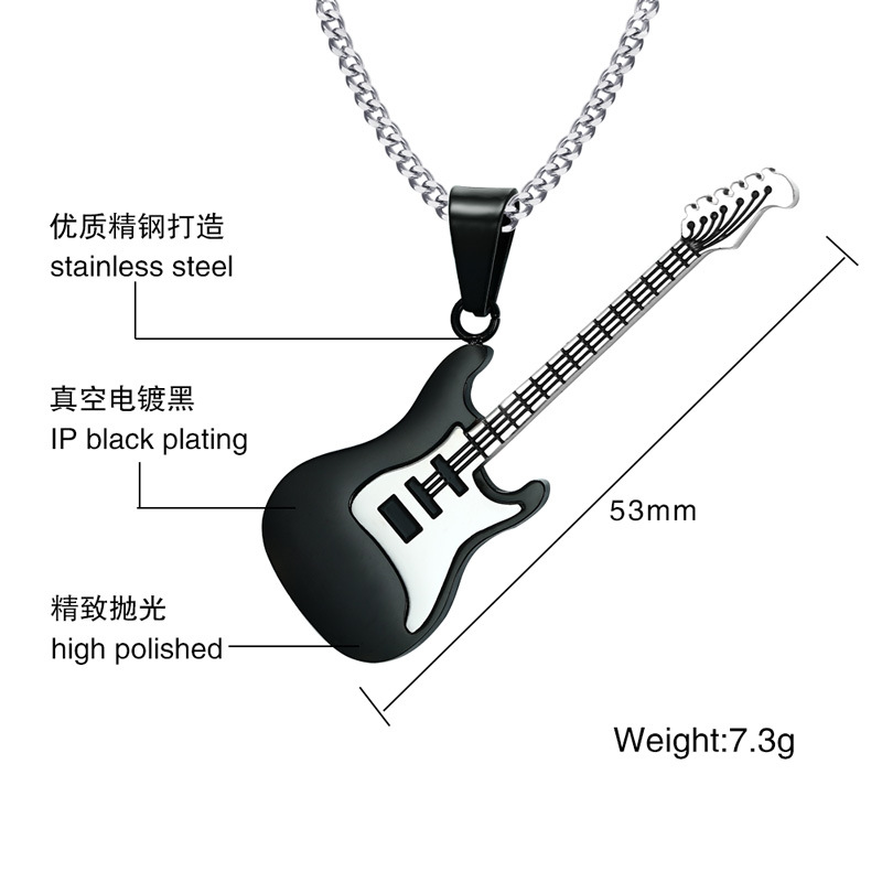 Stainless Steel Guitar Necklace For Men Women Music Lover Gift Pendant & Chain Hip Hop Rock Jewelry 1