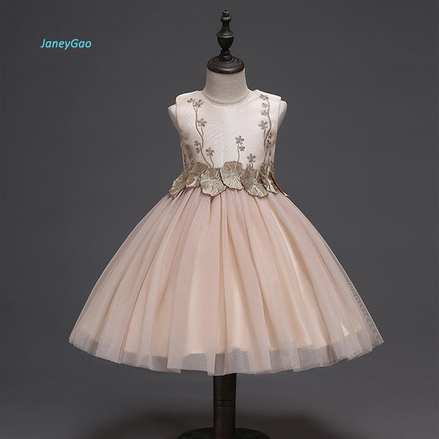 JaneyGao 2019 אופנה פרח ילדה שמלות למסיבת חתונה אלגנטי שמפניה שמלת טול שמלה עם רקמת תחרה אפליקציות