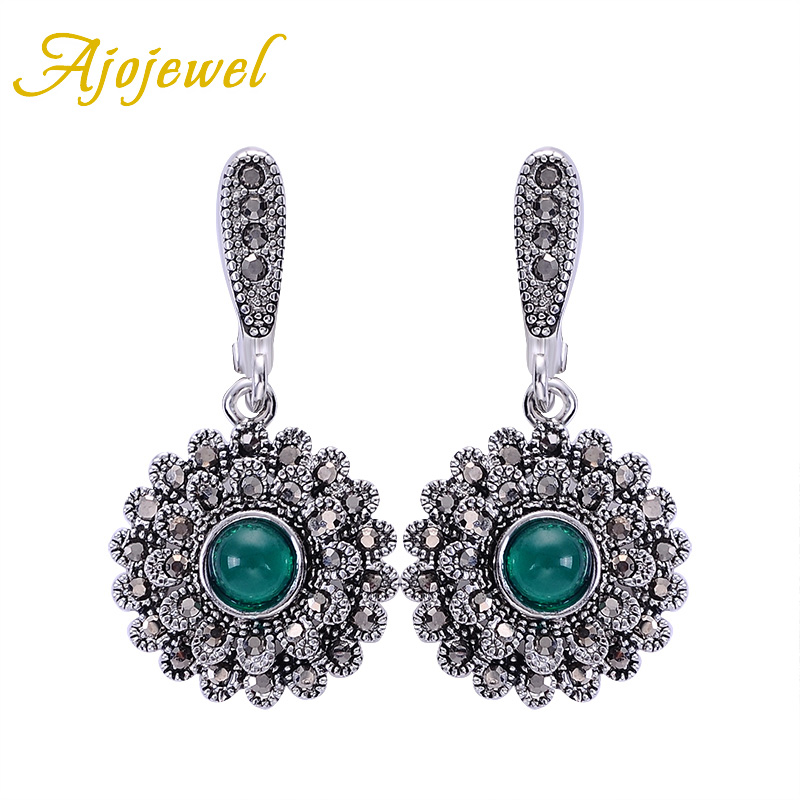 Ajojewel Crystal Green Earrings For Women Black Rhinestone Sunflower Drop Earrings Vintage Earrings Jewelry Gift