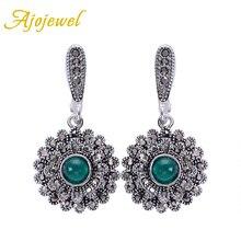 Ajojewel cristal verde pendientes para mujer negro diamantes de imitación girasol gota pendientes Vintage joyería regalo