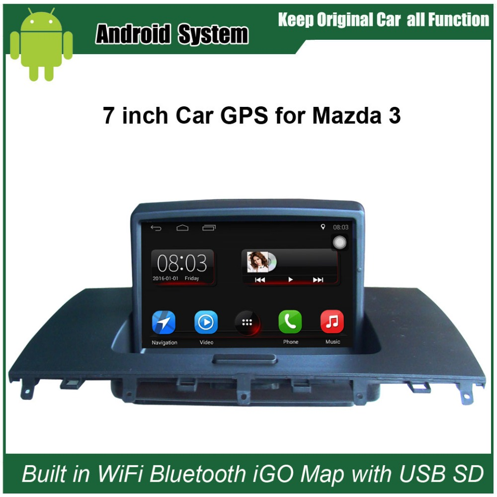 buy 7 inch android capacitance touch screen car media player for mazda 3 m3. Black Bedroom Furniture Sets. Home Design Ideas