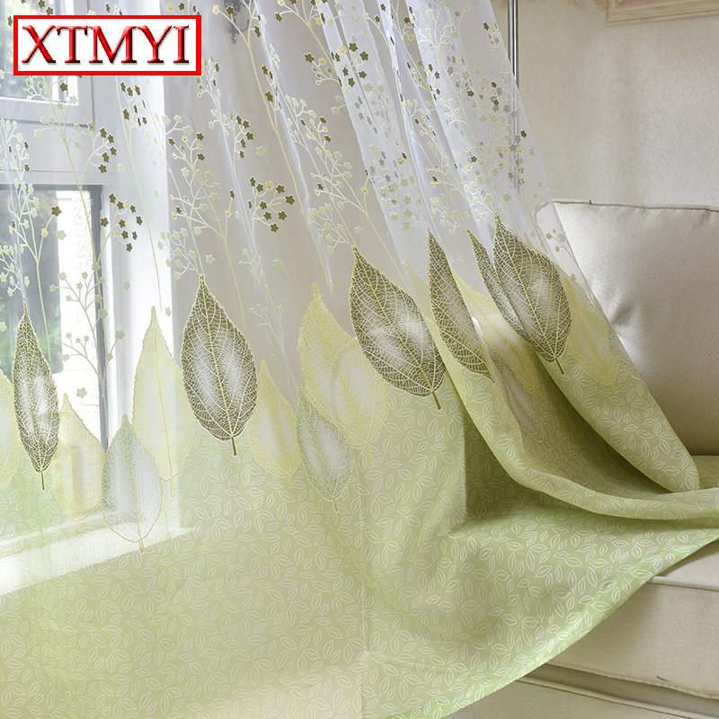 Buy modern tulle window kitchen curtains for Green modern curtains