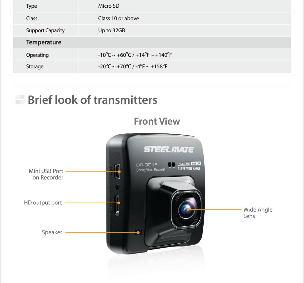 Steelmate Dr901e Car Dvr Camera Recorder Wide Angle Full Hd1080p 24 Speed Vke Tachograph Hidden Wireless Wif I 1080p Hd Night Vision Machine Protable Playback Recording Motion Detection Cycle