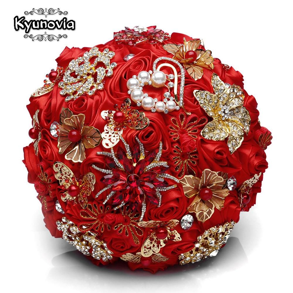 Kyunovia Red Wedding Brooch Bouquets Gold Jewelry Bridal Flower Ramos De Novia Rhinestone Brooches Crystal Wedding Bouquet FE101