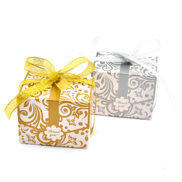 Flower Printed Candy Gift Bo 100pcs Wedding Favor Gold Silver Black Color Party Box