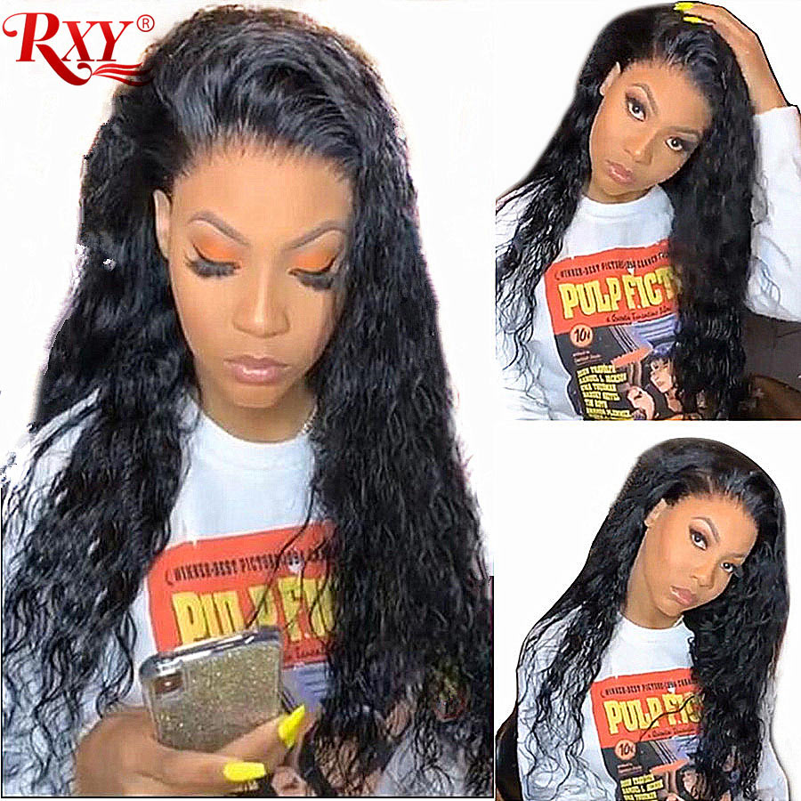 RXY Glueless Lace Front Human Hair Wigs For Women Brazilian wig 150 Water Wave Lace Front