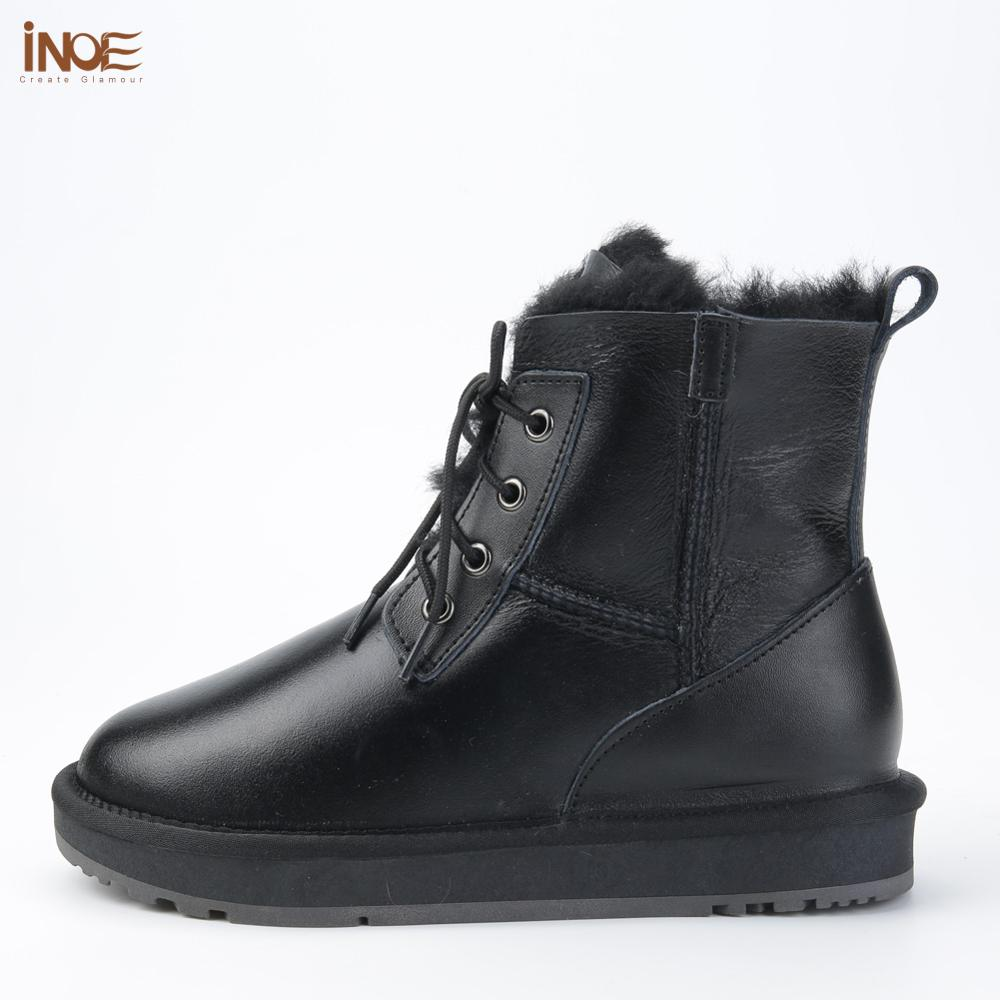 Image 3 - INOE Sheepskin Leather Wool Fur Lined Men Lace Up Short Ankle 