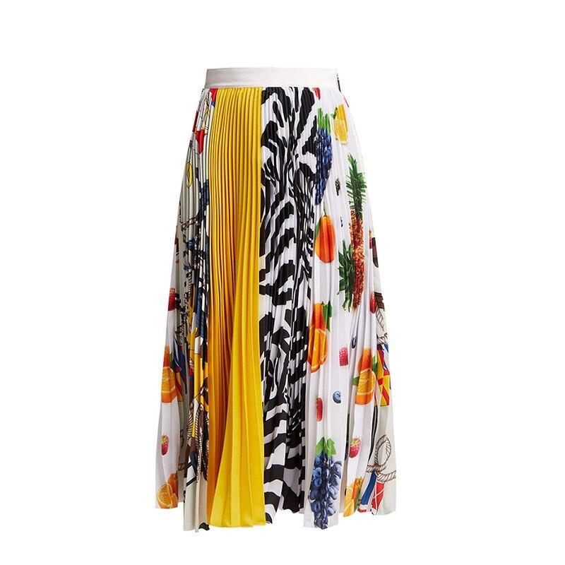 Stunning Designer High Street Russian Women Cute Printed Fruit Colorful Elastic Waist Slim Pleated Quality Sweet