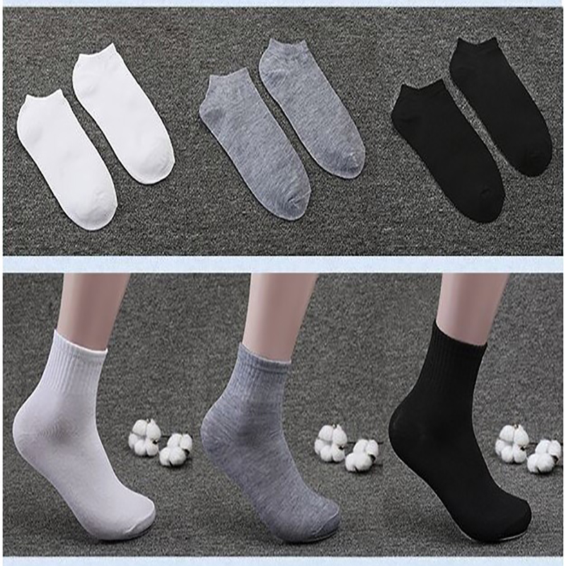 1 Pair Non-slip Men's Boat Socks Male High Elastic Wear-resistant White Ankle Socks Spring And Summer Solid Color Cotton Socks