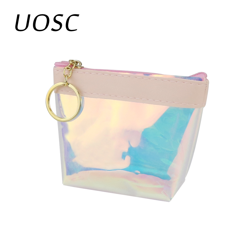 UOSC Transparent Coin Purses Women Wallets Small Cute Card Holder Key Money Mini Bag For Girls Ladies Purse Fashion Change Pouch