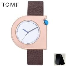 TOMI Cuero de Los Nuevos Hombres Relojes de Primeras Marcas de Lujo Reloj Del Deporte de La Moda Relojes de pulsera de Cuarzo Square Mens Relojes de Oro Reloj de Pulsera