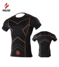 ARSUXEO Men Comics Superhero Avengers Costume X-Men Captain America T-shirt Sport Jogging Jersey Tops Fitness Gym Tee