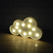 LED Novelty Cloud Night Lamp 3D Marquee Luminaria Decor Light Warm White 11 Leds Baby Bedroom Desk Table Bookcase Night Lights недорого