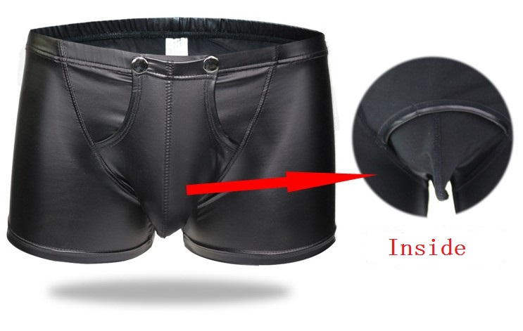 Hot brand Gay Underwear Men solid Leather Boxers Shorts Man Low Waist Capsule Underpants male boxers flat panty size M-XXL
