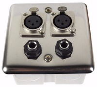 STARAUDIO SWP 4001 Silvery Steel Wall Plate Panel 2 XLR 3 Pin Female Ports And 2