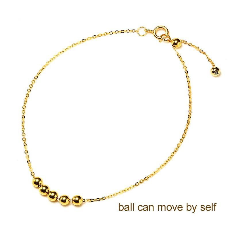 DAIMI pulsera de oro puro cadena satelital 18 K Cadena de cuentas de oro amarillo ajustable 18 cm pulsera de cadena de regalo de joyería - 2