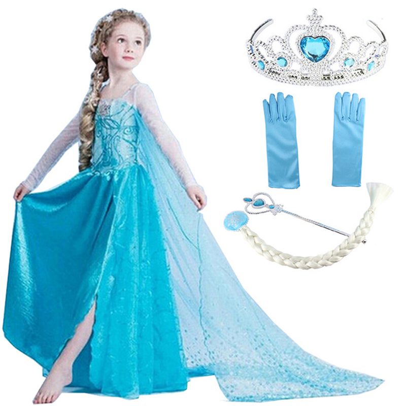 Queen Dresses Girl Elsa Cosplay Costume Christmas Princess Dress for Birthday Party Vestidos Fantasia Elza Girls Clothing baby girls dress christmas anna elsa cosplay costume summer dresses girl princess elsa dress for birthday party vestidos menina