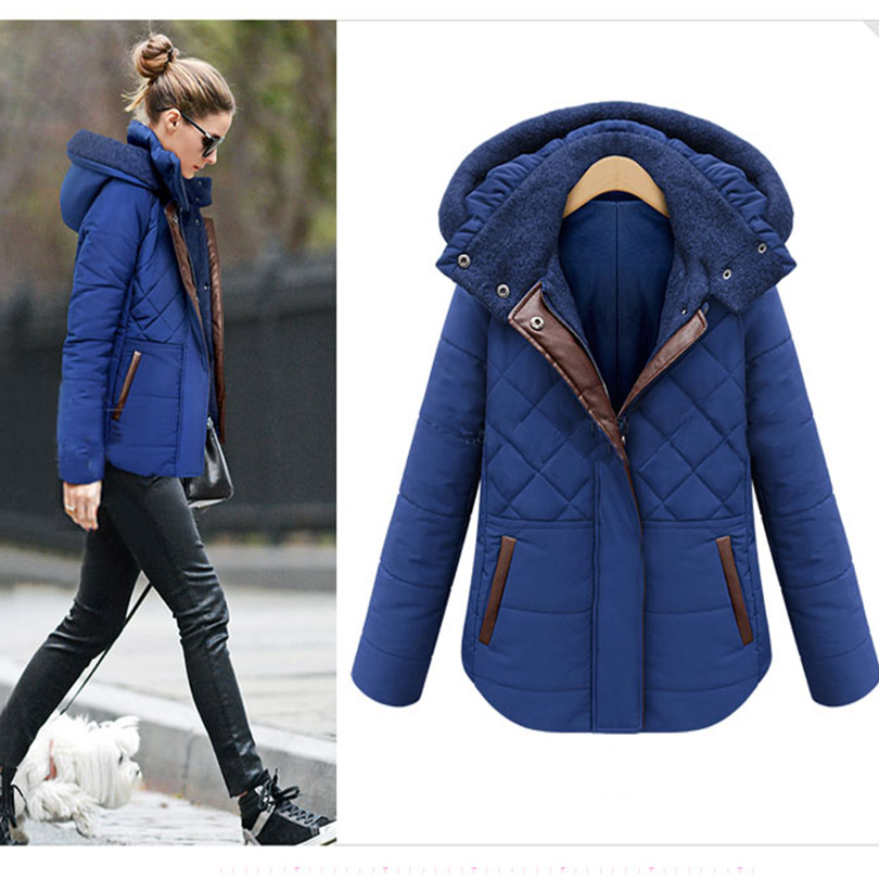 Thickening Plus Cotton Women Winter Hooded Down Jacket Plus Size In the Long Section 2016 New