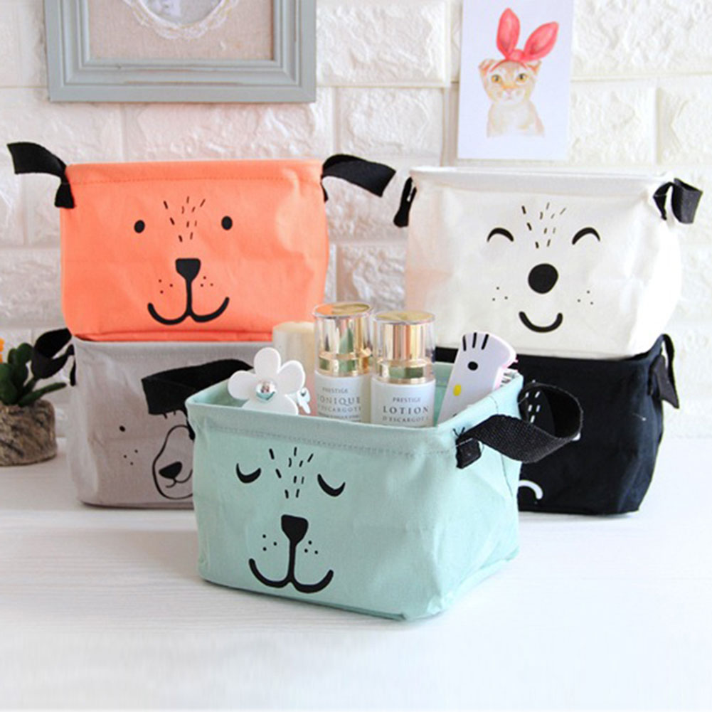 1 pc Lovely Cotton Linen Desktop Makeup Jewelry Cosmetic Storage Baskets organizer Square Toy Finishing Waterproof bags