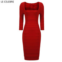 LE CELEBRE Boat Neck Bandage Dress 2017 Red Váy Clud Sexy Dress New Short Phụ Nữ Ăn Mặc Elegant Đảng Dress