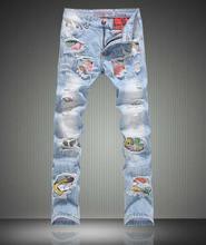 Мода Новые лоскутная вырез мужчин джинсы мода тонкий Distrressed брюки