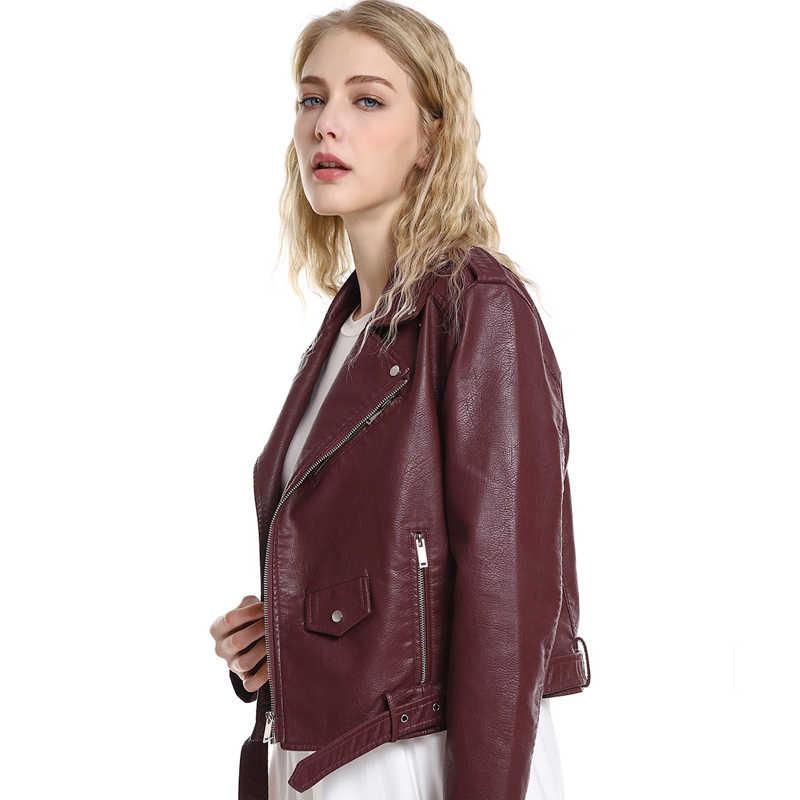 Ftlzz Baru Musim Semi Musim Gugur Wanita Pendek Dicuci Pu Jaket Kulit Streetwear Zipper Sabuk Motor Dasar Jaket Hitam Jaket Merah