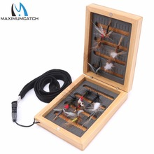 Maximumcatch  Wooden Bamboo Fly Fishing Box with slit Foam Insert Super small Portable Fishing Box